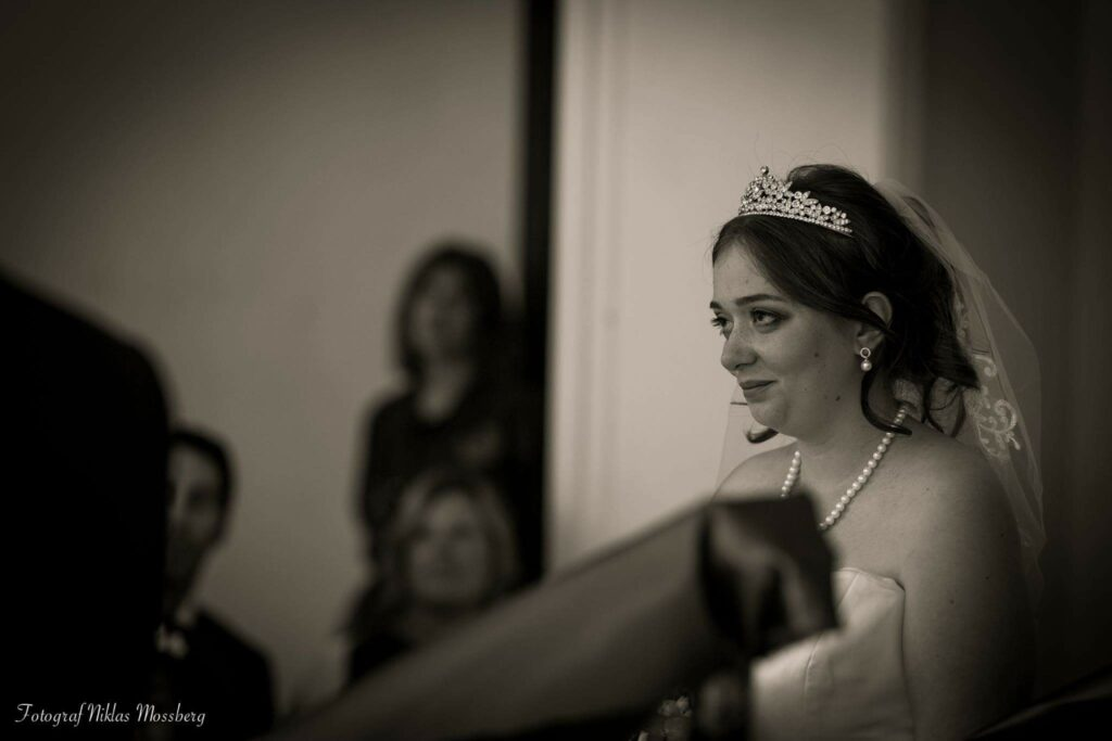 A beautiful bride coming down the stairs